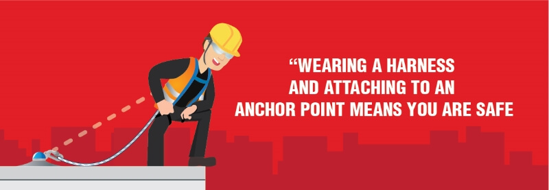 Fall Protection myth: Wearing a harness and attaching to an anchor point means you are safe